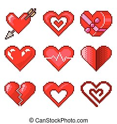 Pixel hearts for games icons vector set