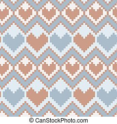 Pixel hearts seamless vector pattern