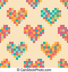 Pixel hearts valentine seamless pattern