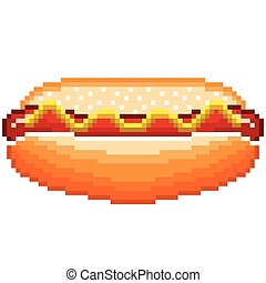 Pixel hot-dog isolated vector