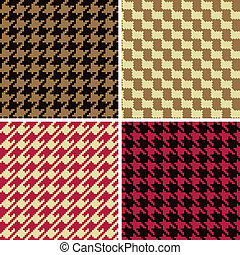 Pixel Houndstooth Patterns_Classic - Four houndstooth...
