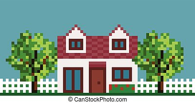 Pixel House with Fence and Garden