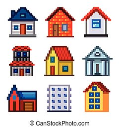 Pixel houses for games icons vector