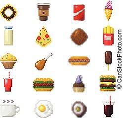 pixel, icônes, art, nourriture, vector.
