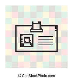 pixel icon badge on a square background
