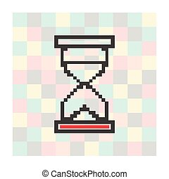 pixel icon hourglass on a square background