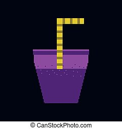 pixel icon in flat style glass of soda with straw