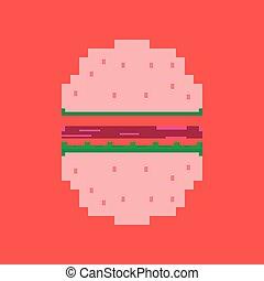 pixel icon in flat style hamburger