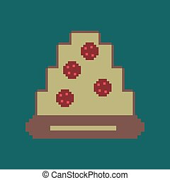 pixel icon in flat style pizza with salami