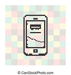 pixel icon smartfone on a square background