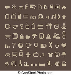 Pixel icons on brown