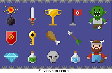 Pixel Icons Set, Chicken Leg, Skull Viking Diamond