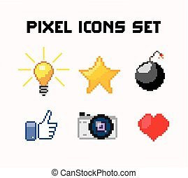 pixel icons set