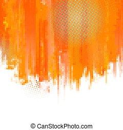 pixel., illustration., abstrakcyjny, text., malować, wektor, miejsce, plamy, tło, pomarańcza, twój, mozaika