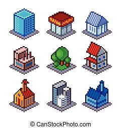 Pixel isometrical city buildings icons vector set