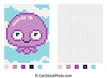 Pixel jellyfish cartoon in the coloring page with numbered squares