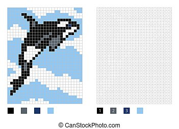 Pixel killer whale cartoon in the coloring page with numbered squares, vector illustration