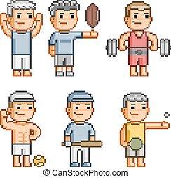 pixel, kunst, verzameling, van, gevarieerd, sporten