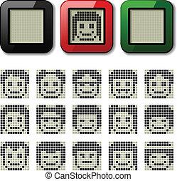 pixel, lcd, vektor, fremvisning, ansigter