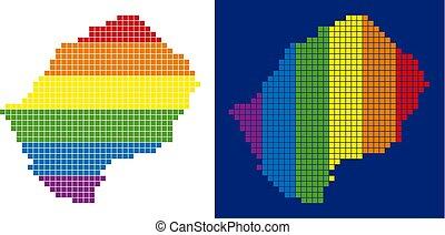 pixel, lesotho, spectre, pointillé, carte