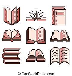 pixel, livros, para, jogos, ícones, vetorial, jogo