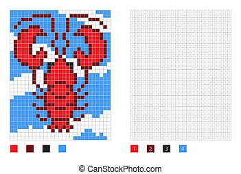 Pixel lobster cartoon in the coloring page with numbered squares