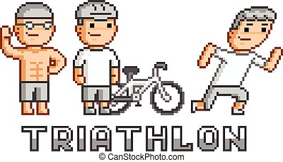 Pixel funny logo triathlon for game and design
