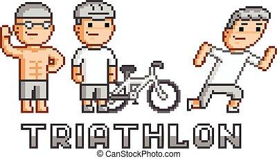 Pixel logo triathlon - Pixel funny logo triathlon for game ...