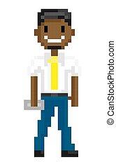 Pixel Man in Suit with Object, Superhero Vector