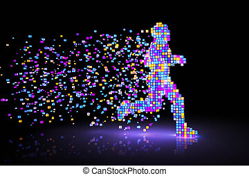 Pixel Man - Man figure consisting of glowing pixels runs...