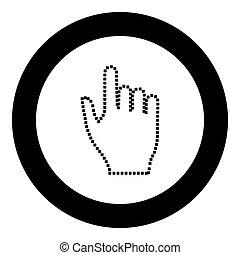 pixel, mano, negro, icono, en, círculo, vector, ilustración