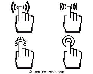 pixel, manos, icono, conjunto