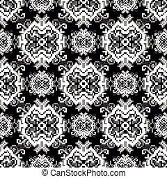 pixel monochrome beautiful seamless pattern vector illustration