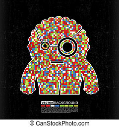 Pixel monster on grunge background - cartoon illustration