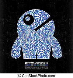 Pixel monster on grunge background - cartoon illustration