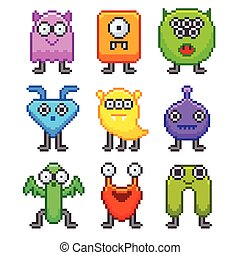Pixel monsters for games icons vector set