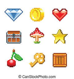 Pixel objects for games icons vector set