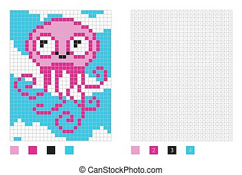 Pixel octopus cartoon in the coloring page with numbered squares