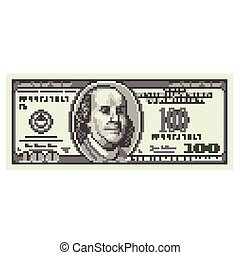 Pixel one hundred dollars vector