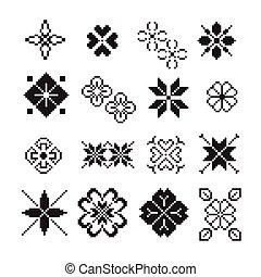 pixel ornament, vector set