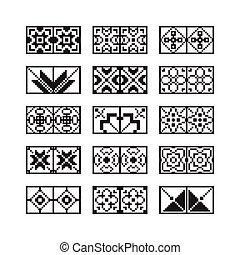 pixel, ornement, vecteur, ensemble