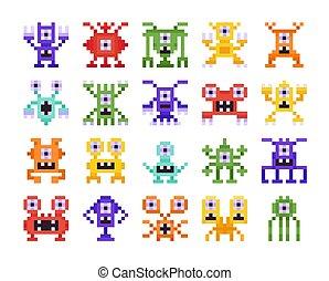 pixel, otto, arcata, mostri, stranieri, set, bianco, pezzo, disegno, collezione, computer, fondo., isolato, retro, giochi
