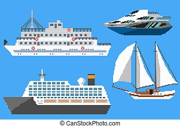 Pixel passenger ships and boats