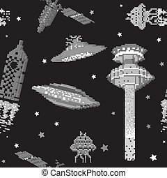 pixel pattern - pixel art style pattern, space ships and...