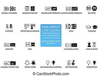 pixel, perfect, dune lijn, iconen, en, symbolen, set, voor, kunstmatige intelligentie, /, ai.