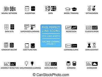 Pixel perfect thin line icons and symbols for machine...