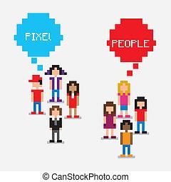pixel, pessoas