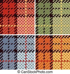 Pixel Plaid in 4 Colorways - Vector plaid pattern in four...