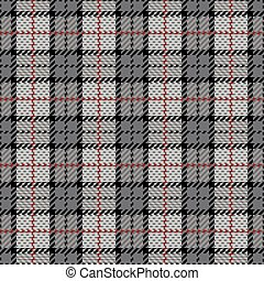 Pixel Plaid in Gray with Red Stripe - Vector plaid pattern...