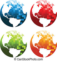 Pixel Planet Earth Icons